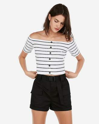 Express Olivia Culpo Striped Cropped Off The Shoulder Button Top