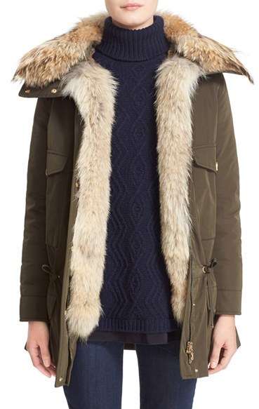 MonclerWomen's Moncler 'Margarita' Down Jacket With Removable Genuine Coyote Collar And Rabbit Fur Vest
