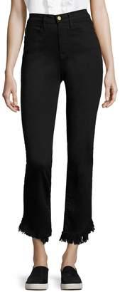 Frame Le High Frayed Hem Straight Leg Jeans