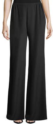 Caroline Rose Silk Crepe Wide-Leg Pants, Petite