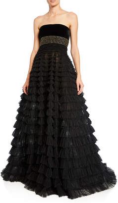 5b8973ff7f046 J. Mendel Strapless Studded Tiered Tulle Gown