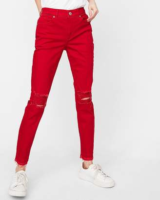 Express High Waisted Red Stretch Ankle Jean Leggings