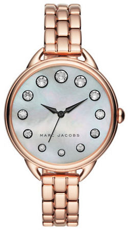 Marc Jacobs Marc Jacobs Mother-Of-Pearl, Crystal & Stainless Steel Bracelet Watch