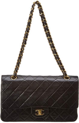 897a815be4b9f8 Chanel Black Quilted Lambskin Leather Classic Medium Double Flap Bag