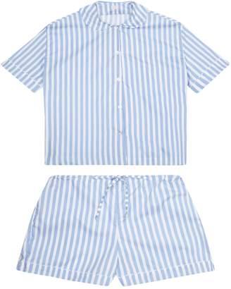 RAC Sarah Brown 100% Cotton Poplin Blue & White Stripe Pyjamas With White Ric Trim
