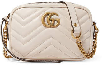 Gucci Gg Marmont Camera Mini Quilted Leather Shoulder Bag - White