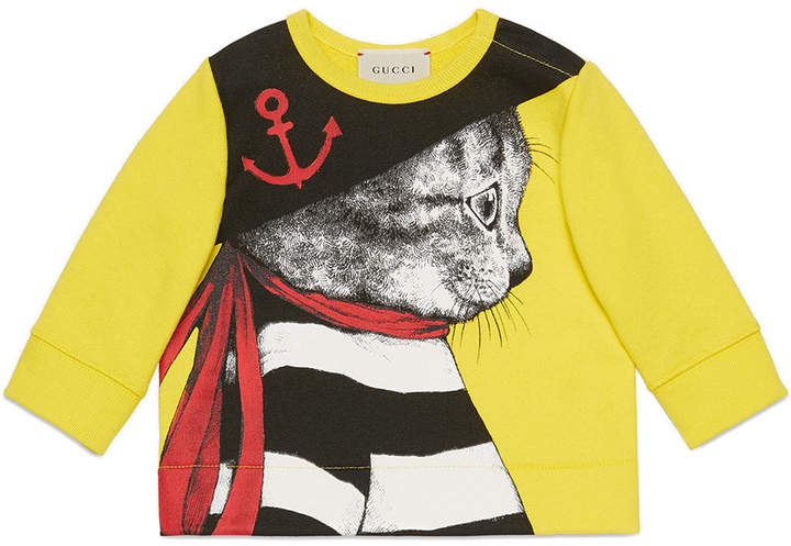 Gucci Kids Baby sweatshirt with sailor cat print