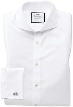 Charles Tyrwhitt Slim Fit White Non-Iron Twill Extreme Spread Collar Cotton Dress Shirt Single Cuff Size 15.5/33