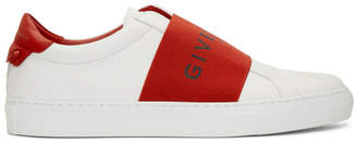 Givenchy White and Red Strap Urban Knots Sneakers