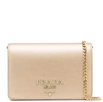 Prada metallic gold logo chain strap mini leather bag