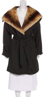 Armani Collezioni Hooded Fur-Trimmed Coat