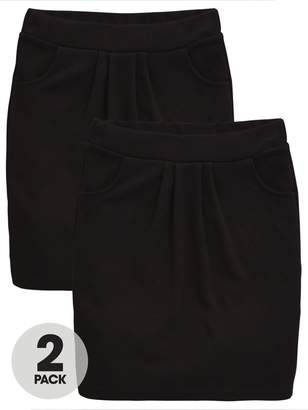 Very Schoolwear Girls Jersey School Tulip Skirts - Black (2 Pack)