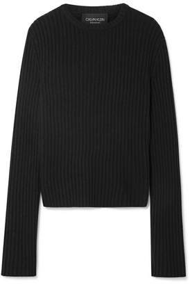 Calvin Klein Striped Ribbed Wool-blend Sweater - Black