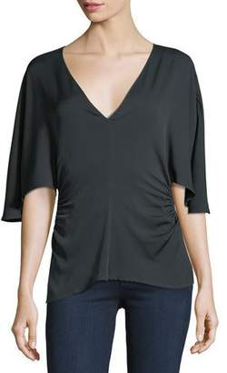 Halston Flounce-Sleeve V-Neck Silk-Blend Top