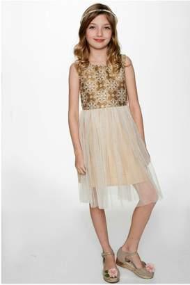Yo Baby Snowflake-On-Gold Tulle Dress