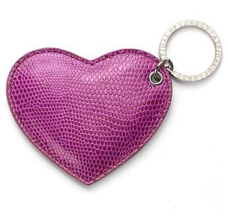 Aspinal of London Heart Key Ring In Berry Lizard