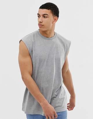 617ff5c15db7a Asos Design DESIGN oversized longline sleeveless t-shirt in grey marl
