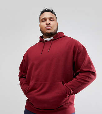 Asos Design DESIGN plus oversized hoodie in burgundy