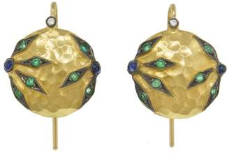 Cathy Waterman Emerald and Blue Sapphire Flower Overlay Earrings