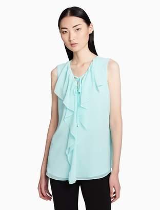 Calvin Klein v-neck ruffle sleeveless blouse