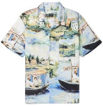 Off-White Camp-Collar Printed Cotton Shirt