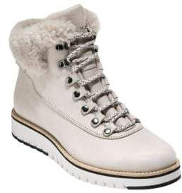 Cole Haan Women's Grand Explorer Fleece-Trim Leather Winter Boots - Light Beige - Size 5.5