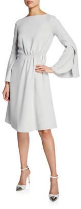 Giorgio Armani Flounce-Sleeve Silk Cady A-Line Dress