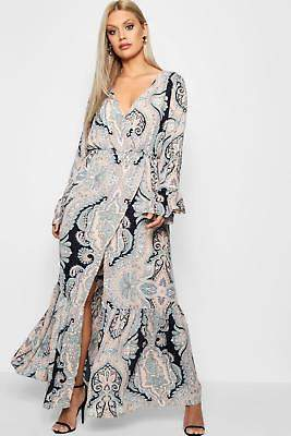 boohoo NEW Womens Plus Paisley Wrap Maxi Dress in Polyester