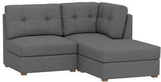 Pottery Barn Teen Burnett Sectional Set, (1 Corner, 1 Armless, 1 Ottoman), Tweed Charcoal, IDS