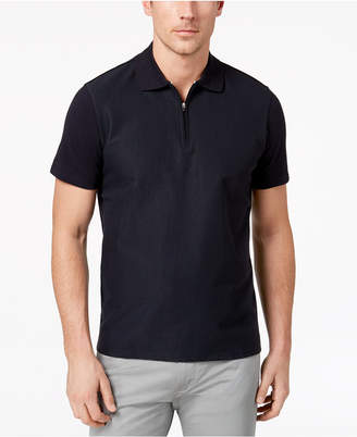 Ryan Seacrest Distinction Men's Slim-Fit Navy Textured 1/4-Zip Polo, Created for Macy's