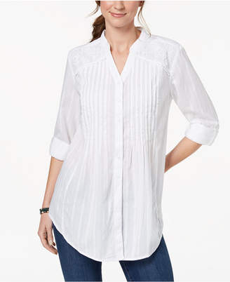 Style&Co. Style & Co Pintucked Lace Tunic, Created for Macy's