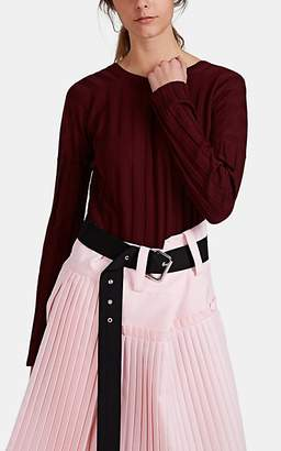 PLAN C Women's Rib-Knit Merino Wool V'd-Back Sweater - Red
