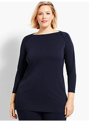 Talbots Plus Size Exclusive Knit Jersey Envelope-Neck Tunic