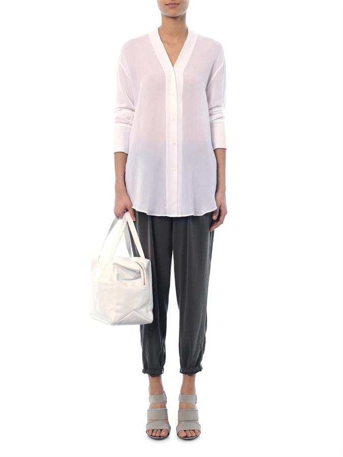 Helmut Lang Terra ruched crepe trousers