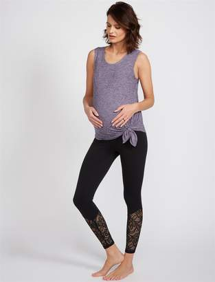 A Pea in the Pod Beyond The Bump Fold Over Belly Lace Midi Maternity Leggings