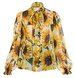 Dolce & Gabbana Women's Sunflower Print Silk Bow Blouse