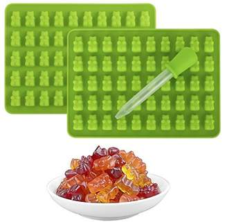 Qiilu 2 Pack 50 Cavity Gummy Bear Mold Food Grade & Bpa Free Non-Stick Silicone Candy Molds Chocolate Molds Trays Suitable For Candy, Chocolate, Jelly, Ice Cream