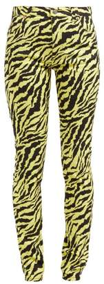 Gucci Tiger Print Mid Rise Slim Leg Jeans - Womens - Yellow Multi