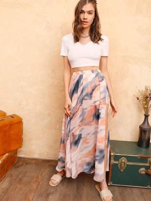 Shein Tie Dye Split Side Maxi Skirt