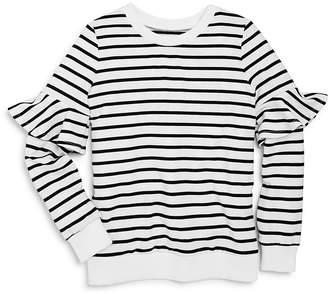 Aqua Girls' Striped Sweater with Ruffled Sleeves, Big Kid - 100% Exclusive