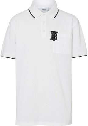 Burberry Monogram Motif Tipped Cotton Piqué Polo Shirt