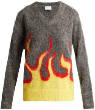 Flame Intarsia Mohair Blend Sweater - Womens - Grey Multi