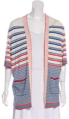 Chanel Striped Open Front Cardigan