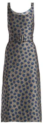 Luisa Beccaria Belted Floral Jacquard Dress - Womens - Blue Multi