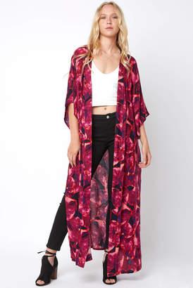 Saachi Blu Brushed Floral Duster Kimono