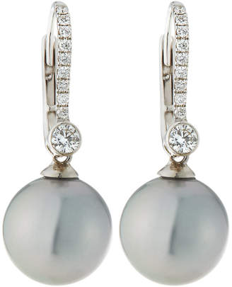 Belpearl 18k White Gold Diamond Lever Back & Pearl Earrings