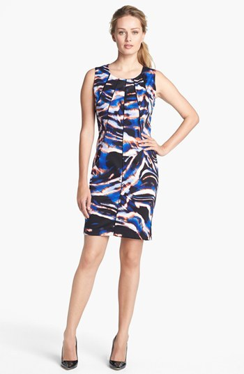 Calvin Klein Pleated Neck Print Sheath Dress