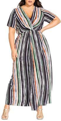 City Chic Plus Jungle Stripe Maxi Dress