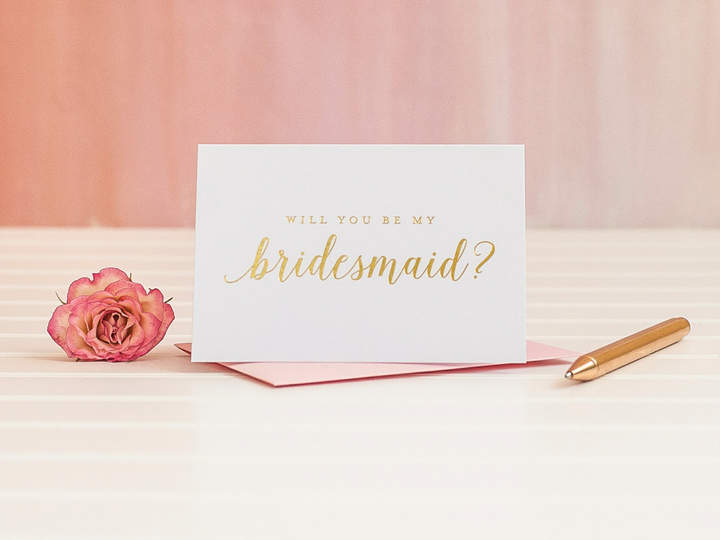 Etsy Gold Foil Will You Be My Bridesmaid card ask bridesmaid proposal bridal party gift wedding party car