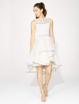 Halston SLEEVELESS V NECK DRESS WITH DRAMATIC SKIRT